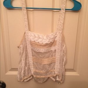 Free People Boho Lace Crop Vintage Feel Top